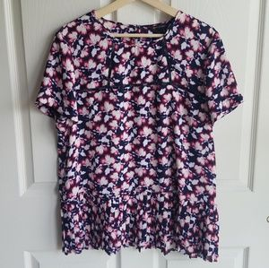 Banana Republic Floral Pleated Blouse Size Large